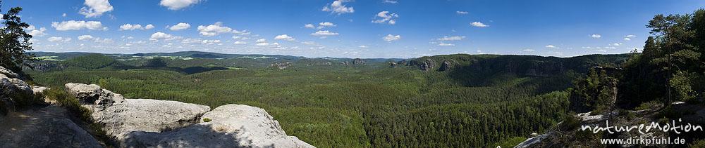 Aussicht vom Kleinen Winterberg: Lorenzsteine, Teichstein, Winterstein, Bärenfangwände, Bad Schandau, Deutschland