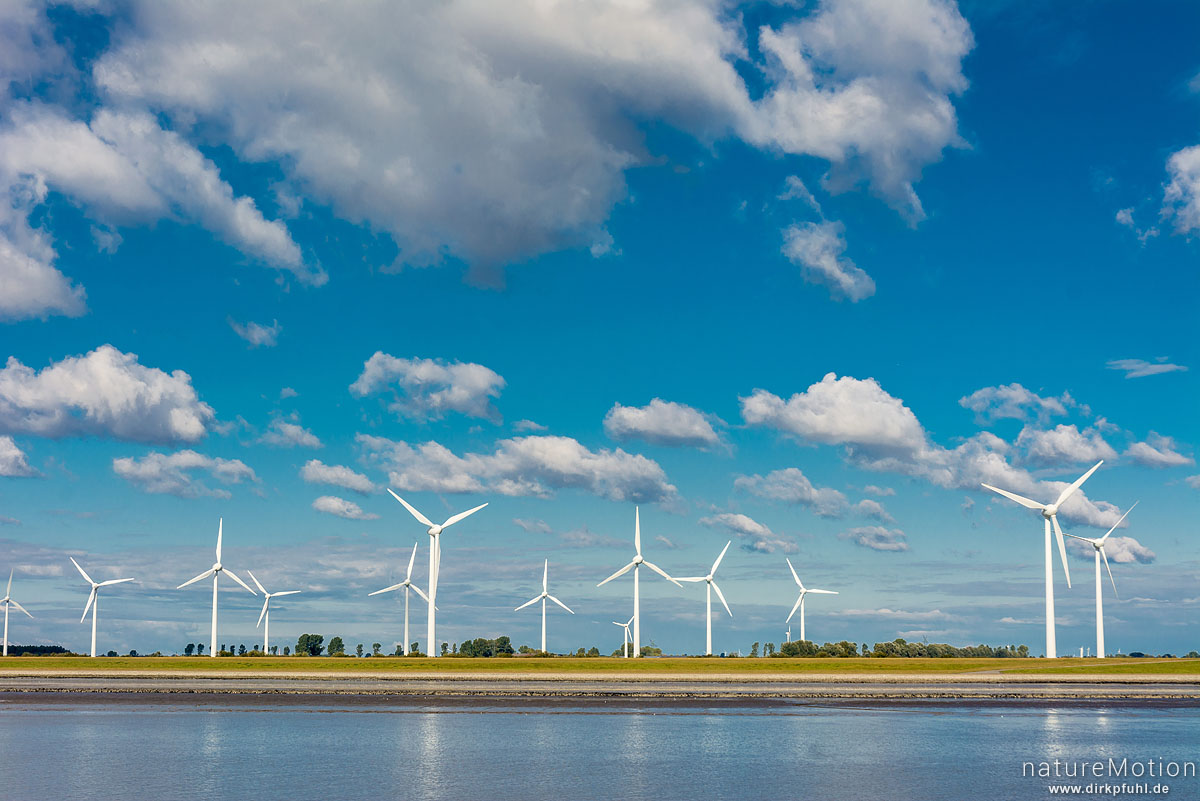 Windräder, Mündung der Ems, Emden, Deutschland