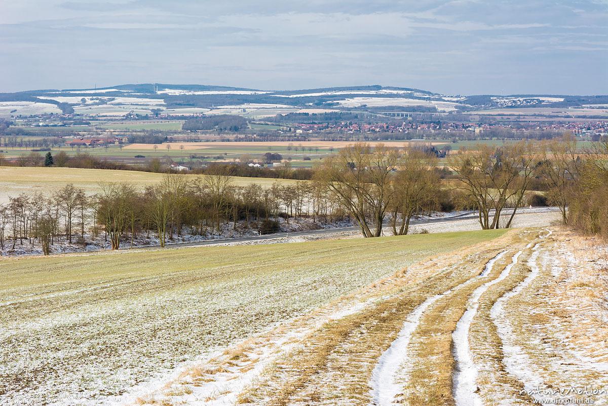 Felder mit frisch ausgetriebenem Wintergetreide, dünne Schneeschicht, Blick vom Westerberg über das Leinetal, Göttingen, Deutschland
