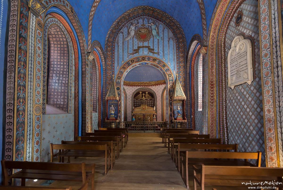 Chapelle Saint Saturnin, Bédouès, Innenraum mit farbigen Wandmalereien, Florac, Frankreich