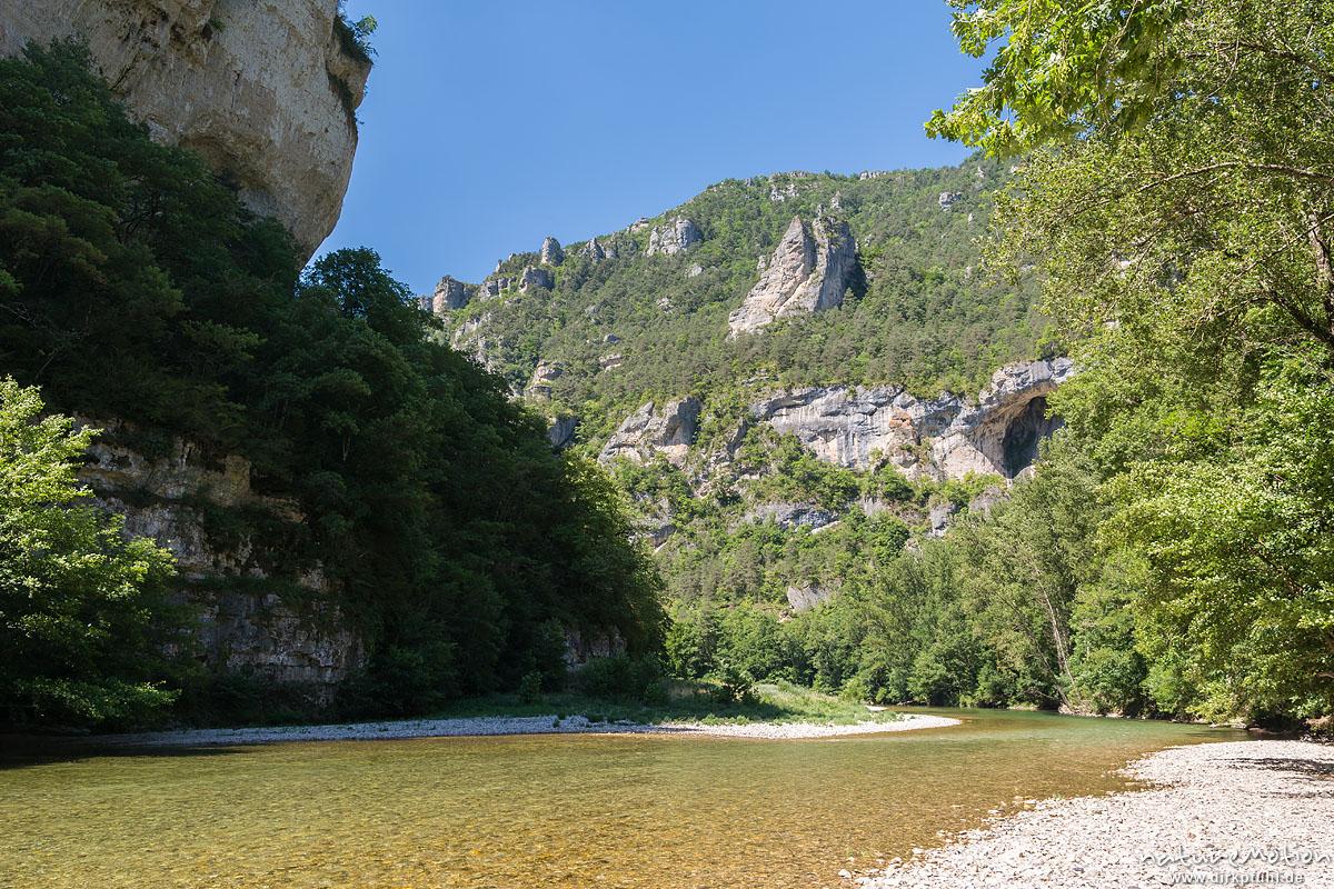 Kanutour auf dem Tarn, Gorges du Tarn zwischen La Malène und Les Vignes, Florac, Frankreich