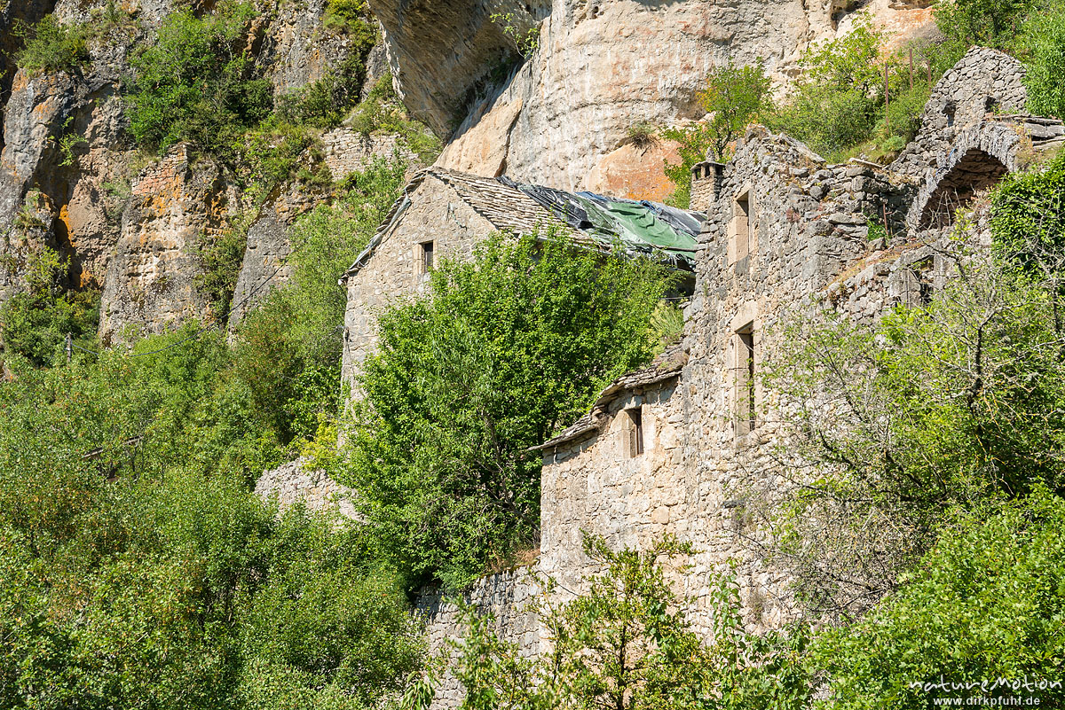 Aussichtsfelsen Capluc, in den Fels gebaute Häuser, Le Rozier, Frankreich