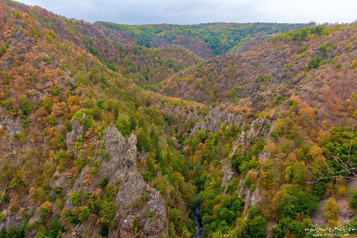 Blick von der Roßtrappe ins Bodetal, Herbstfärbung, Bodetal, Deutschland