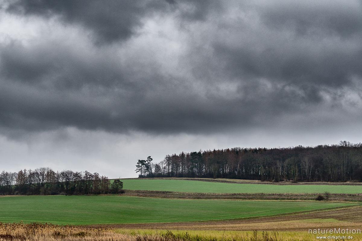 Regenwolken über Agrarlandschaft, Felder, Gartemühle, Göttingen, Deutschland