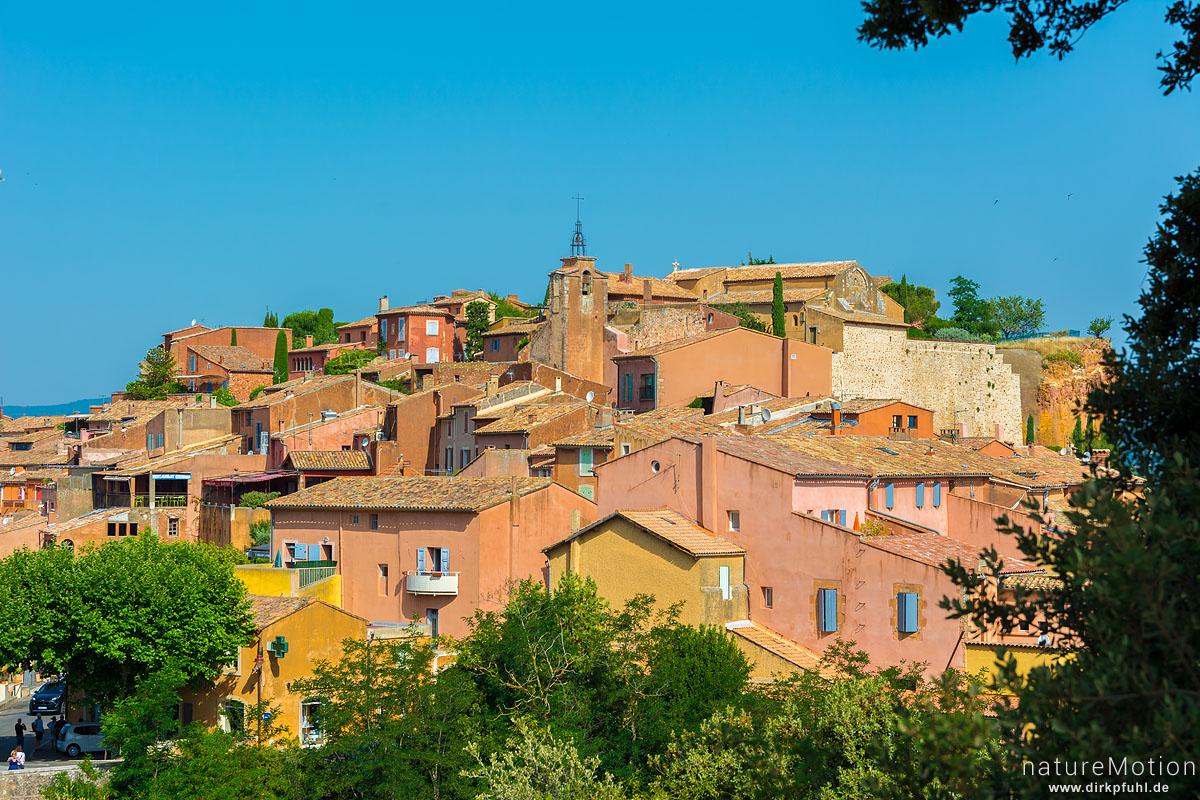 Häuser mit farbigen Fassaden, Altstadt, Roussillon - Provence, Frankreich