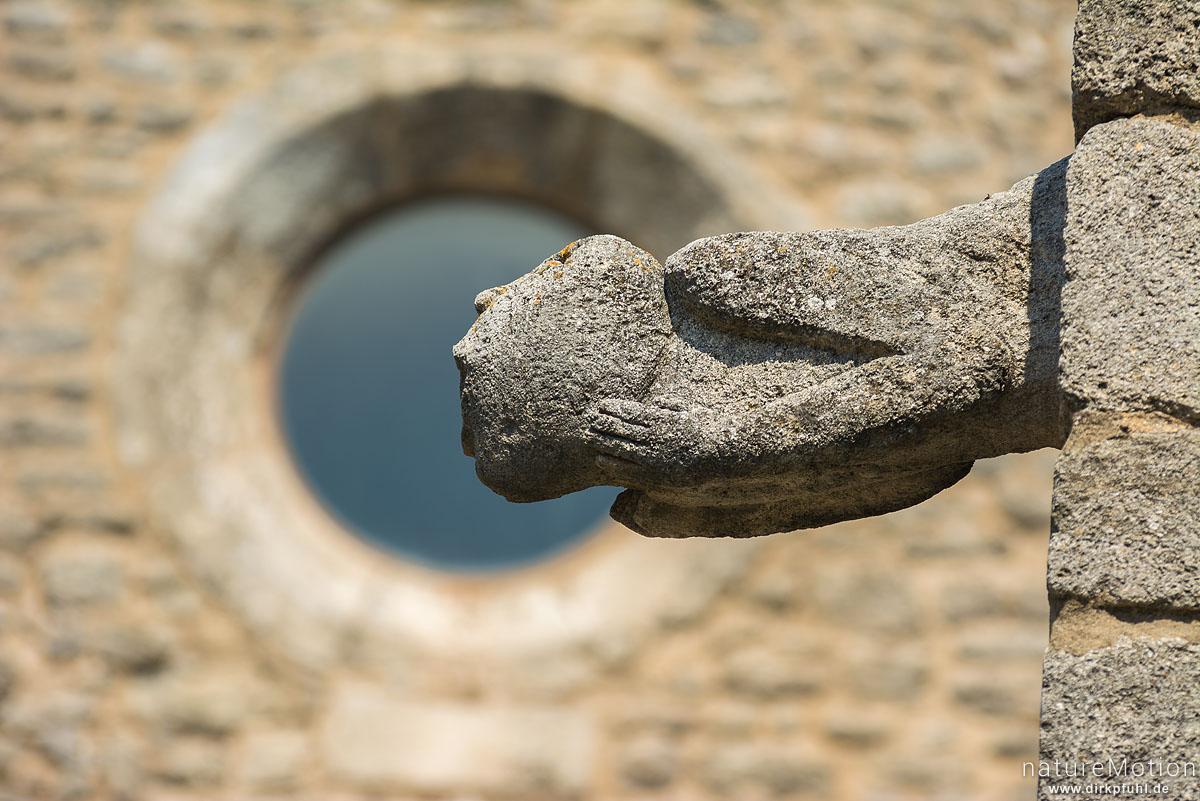 Wasserspeier, Kirche am Rocher de Bellevue de Saignon, Saignon - Provence, Frankreich