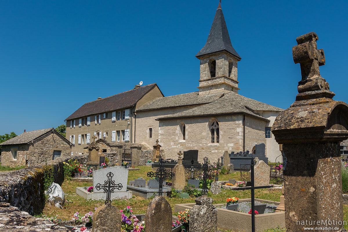 Kirche und Friedhof von Hures, Causees Mejean, Florac, Frankreich