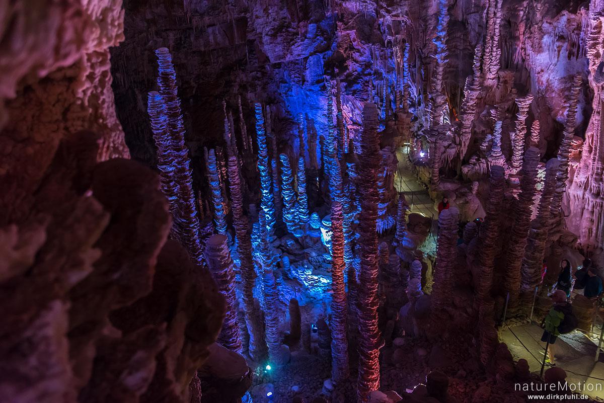 Stalagtiten und Stalagmiten in der Tropfsteinhöhle Aven Amand, Florac, Frankreich