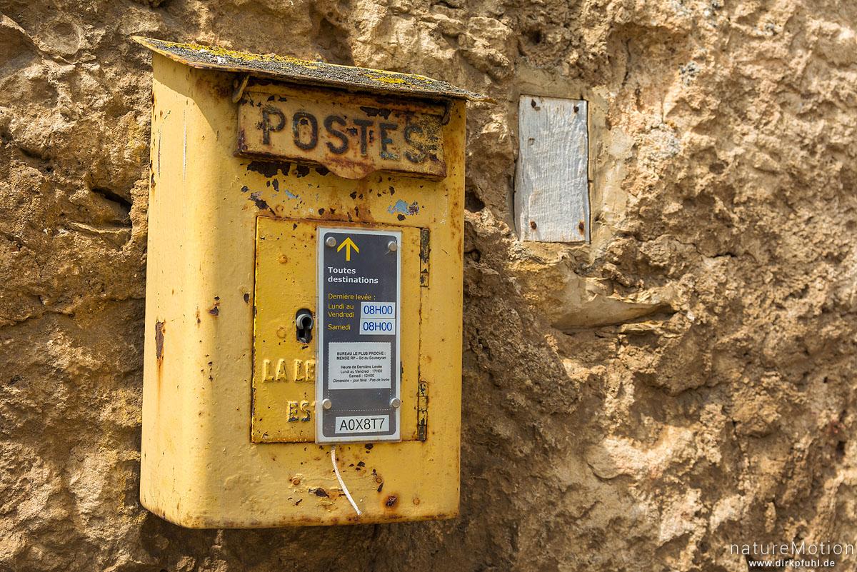 verrosteter Briefkasten, Rieisse, Causses Mejean, La Malene, Frankreich