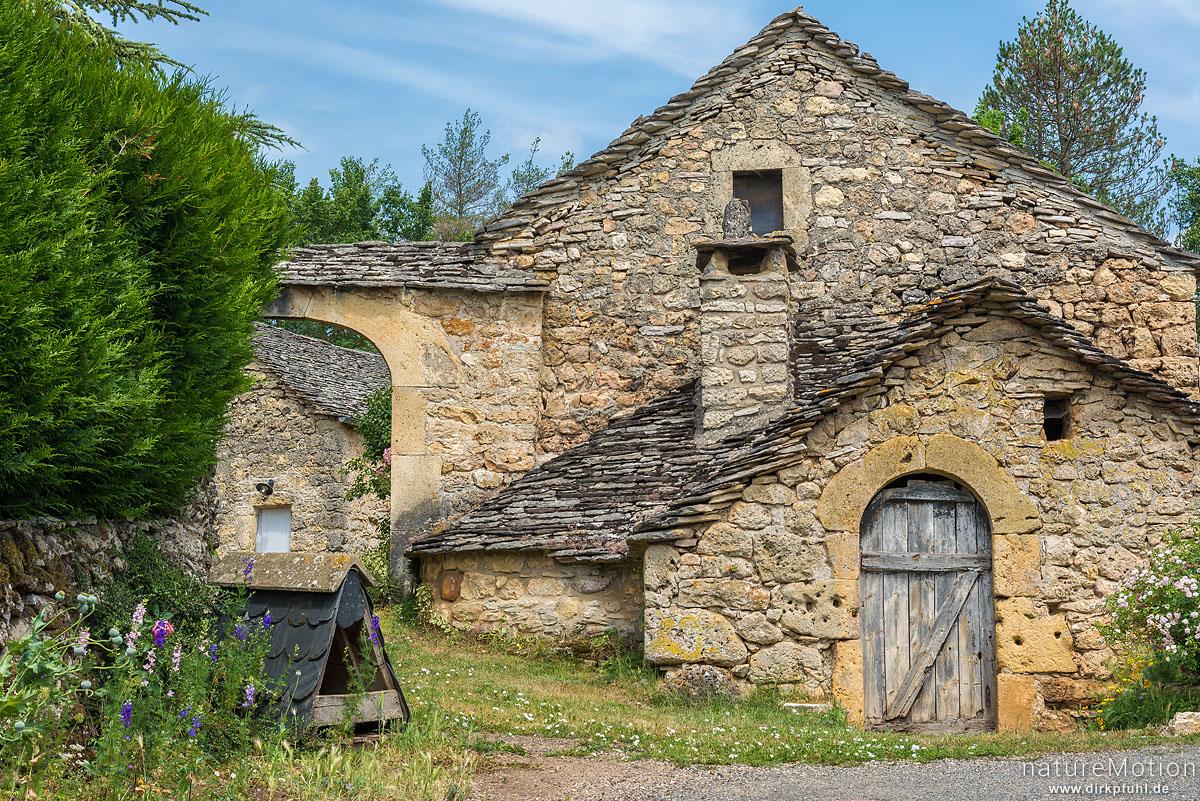 Haus aus Natursteinen, Rieisse, Causses Mejean, La Malene, Frankreich