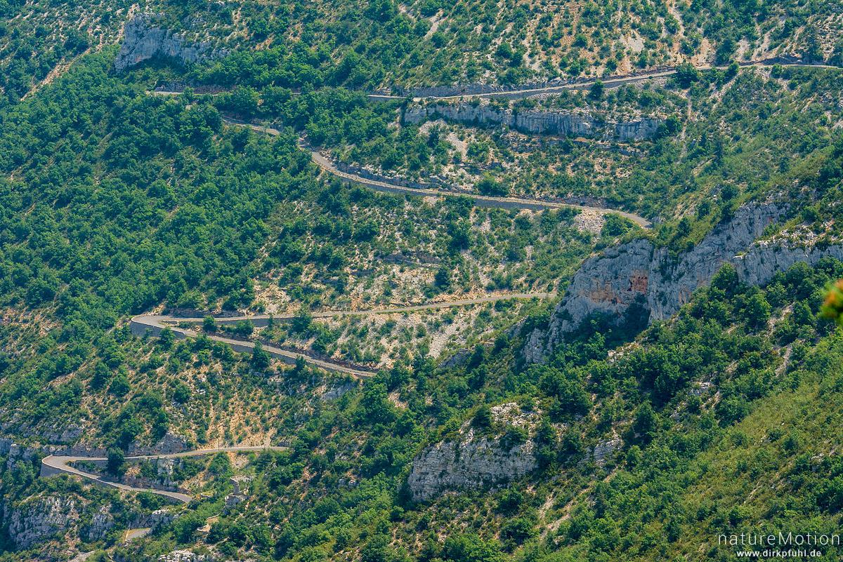 Gorges du Tarn, Strasse von La Malene auf die Causses Mejean, Serpentinen, Blick vom Roc du Serne, La Malene, Frankreich