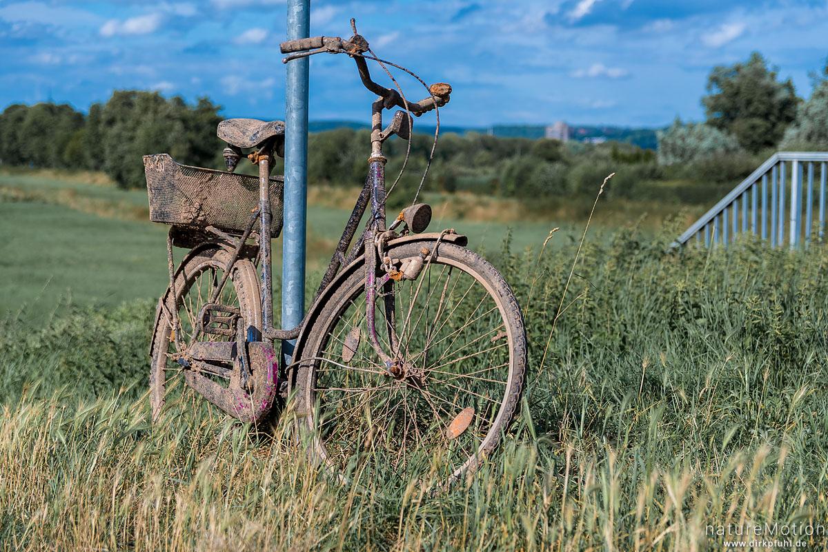 altes Fahrrad, schlammbedeckt und verrostet, wurde aus Becken eines Stauwehr geholt und abgestellt, Flütewehr, Göttingen, Deutschland