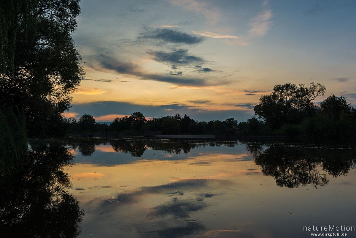 Flusslauf der Werra, Abendstimmung, Eschwege, Deutschland