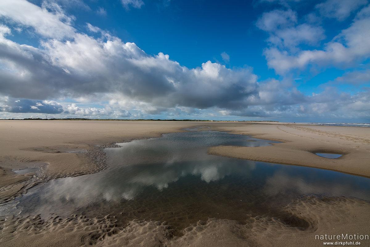 Sandstrand mit Priel, Wolken spiegeln sich im Wasser, Spiekeroog, Deutschland