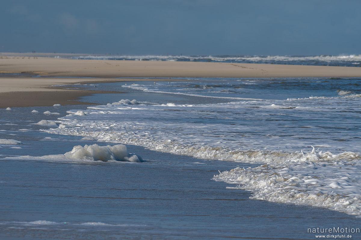 Spülsaum mit auflaufenden Wellen und Meerschaum, Spiekeroog, Deutschland