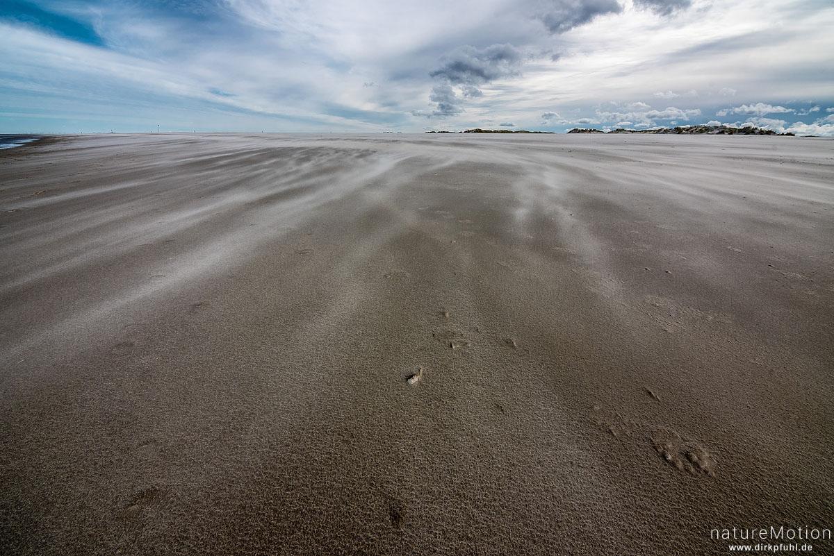 Sand weht über den Strand, Spiekeroog, Deutschland
