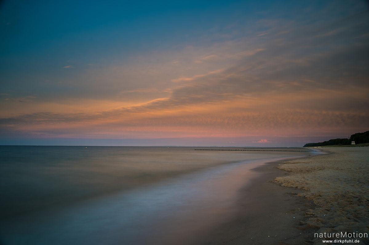 Strand, Meer, Spülsaum, Bune und Wolken, Ückeritz - Usedom, Deutschland