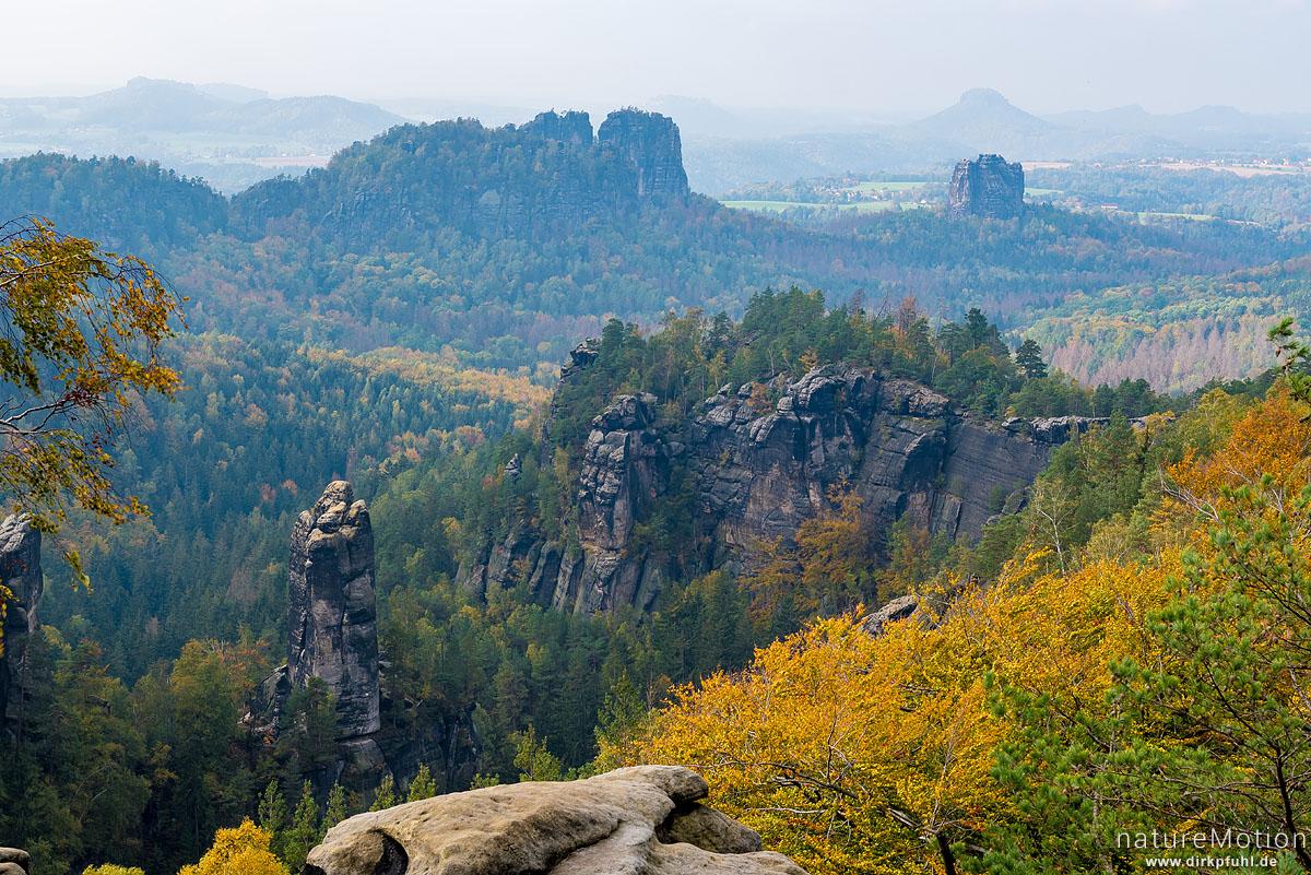 Sandsteinfelsen, Carola-Aussicht, Schrammsteine, Lilienstein, Bad Schandau, Deutschland