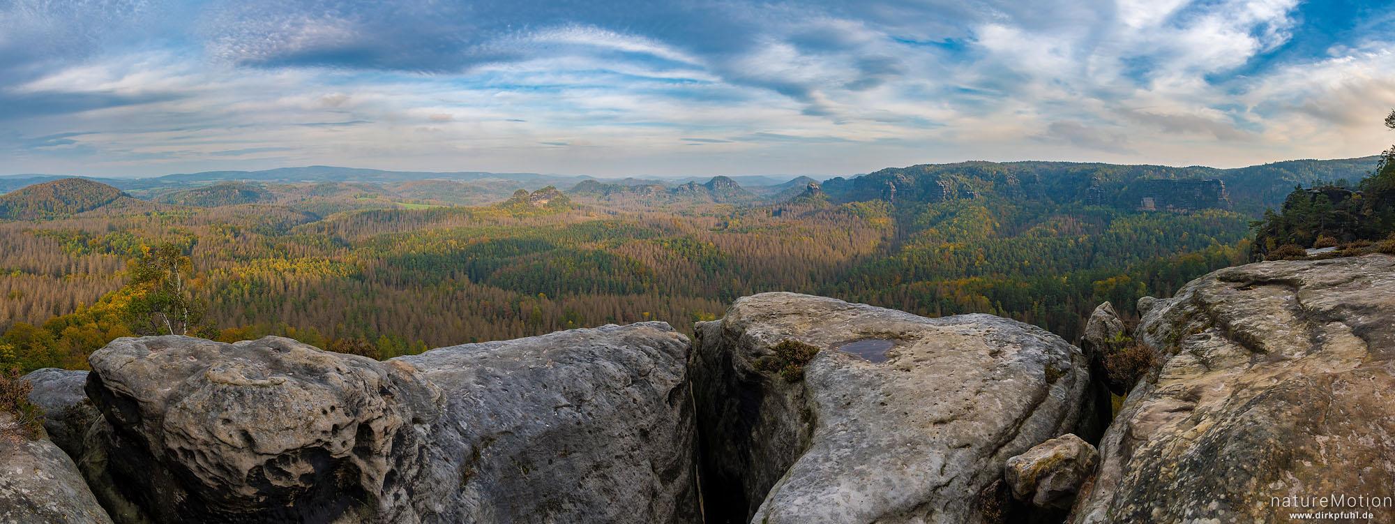 Ausblick vom Affensteinweg, Winterstein und Bärenfangwände, Kleiner Winterberg, Bad Schandau, Deutschland