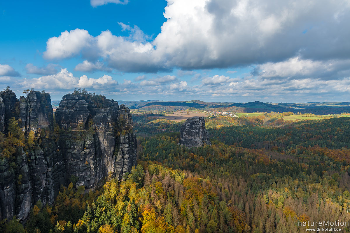 Falkenstein, Schrammsteinaussicht, Herbstwald, Bad Schandau, Deutschland