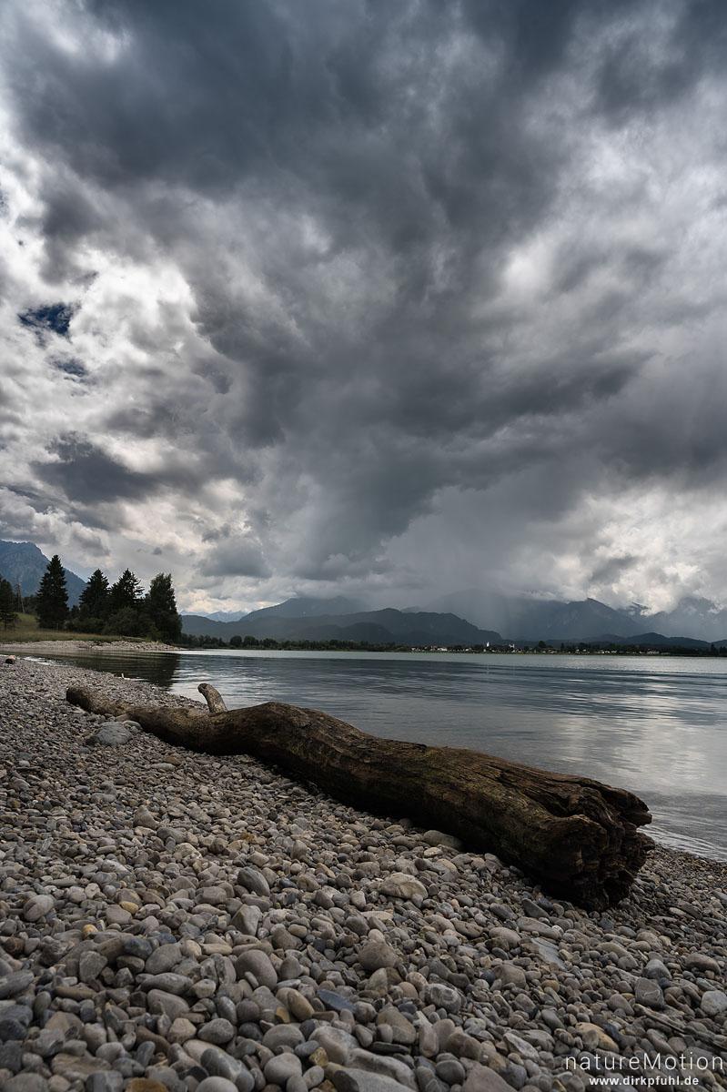 Regenwolken über dem Forggensee, Füssen, Deutschland